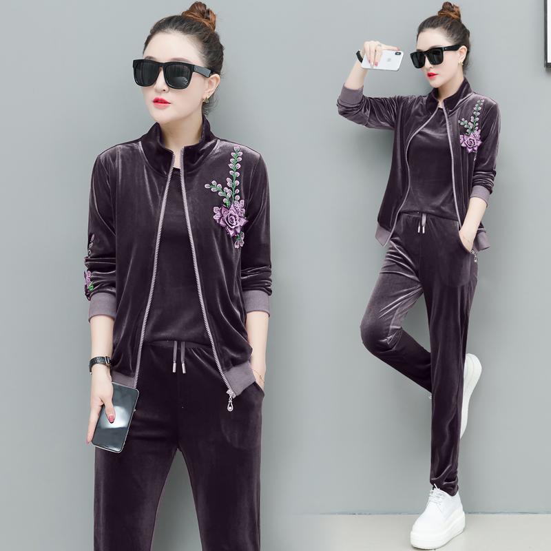 Velvet Purple tracksuits women 3 piece set plus size large 4xl 5xl autumn winter outfits pants suits top coat warm coat clothes