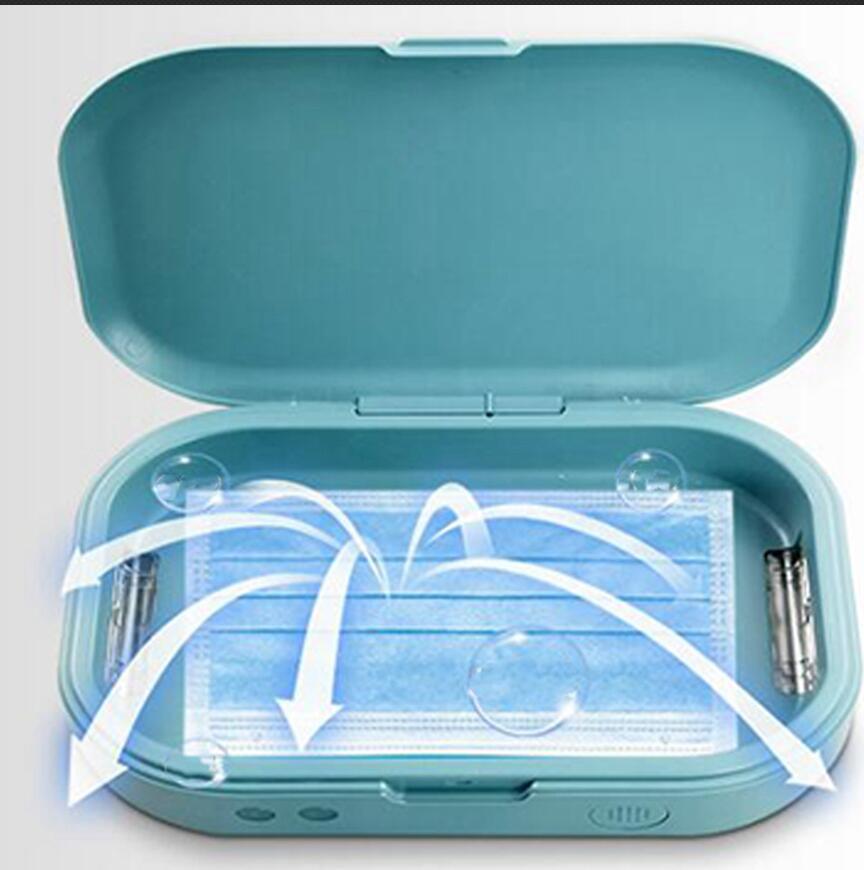 Tragbare UV-Sterilisator-Kasten-Kasten Sanitizer Box Desinfektionsautomat Gebühr für Gesicht Mundmasken Telefon Uhren Brillen LJJA3979
