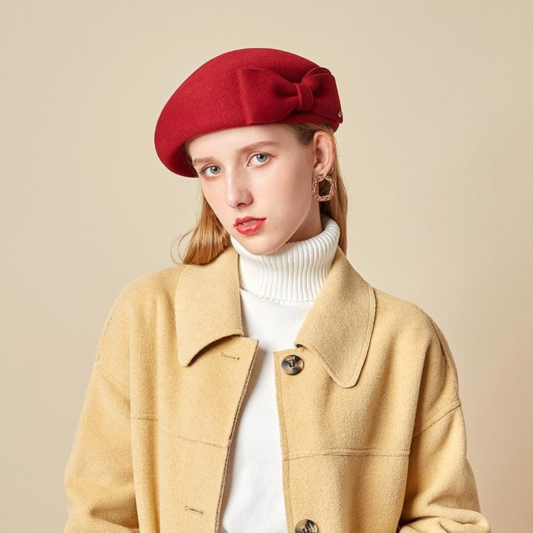 Lady Laine hôtesse de l'air de la Colombie en forme de laine Béret hôtesse de l'air béret de laine de Lady britannique en forme de chapeau de laine