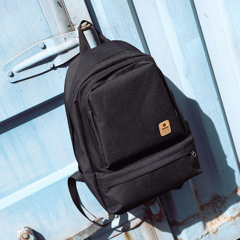 Unisex simples Casual Sólidos Tópico Cor formal estilo mochila Oxford Zipper ombro largo Correia macia Schoolbag