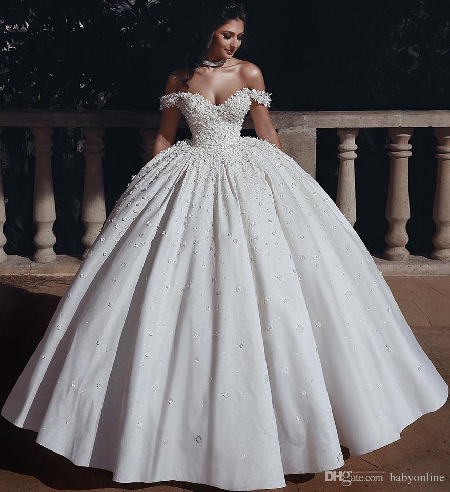 Cristais árabe Dubai vestido de baile vestidos de casamento frisados 3D Flower Off casamento Shoulder robe Vestidos Vestidos de Noiva Robe De Mariage