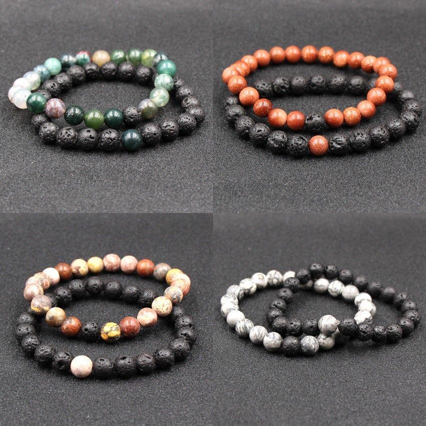 Natural Black Lava Volcanic Stone Bracelets Balance String Beads Yoga Bracelet Energy Tiger Eye Stone Bracelets For Women Men Jewelry M477A