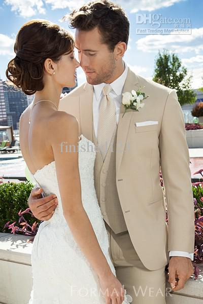 High Quality Two Buttons Beige Groom Tuxedos Notch Lapel Best Man Groomsmen Suits Wedding Suits Bridegroom (Jacket+Pants+Vest+Tie) BM:630
