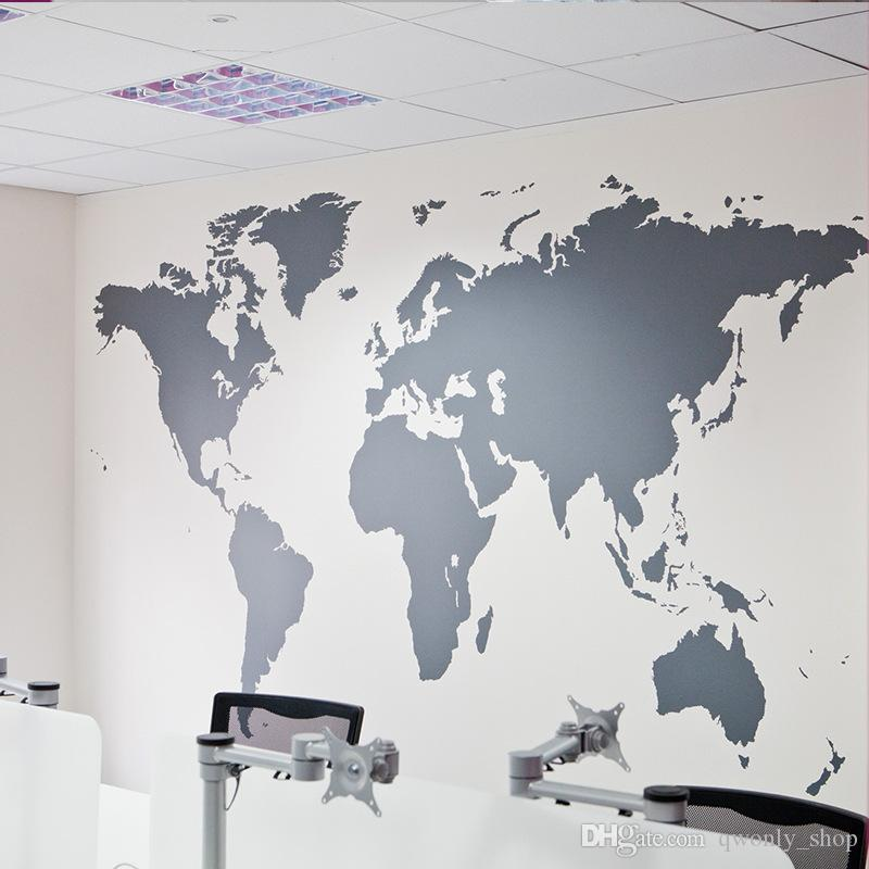 Wholesales Black Large World Map Wall Sticker Removable Double Sided Visual Pattern Home Decoration House Wallpaper free shipping