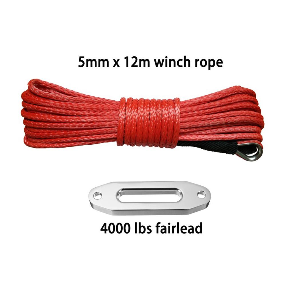 5mm * 12m + 4000lbs passacavo corda linea argano sintetico con guaina e ditale per 4x4 4wd atv utv fuoristrada
