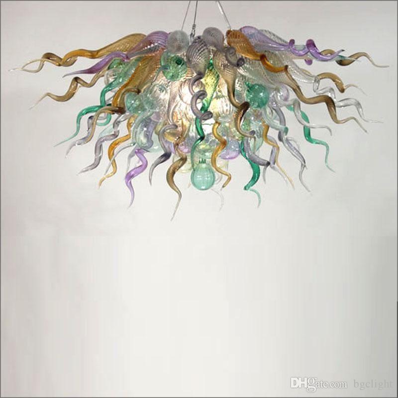 Modern Art Deco Avize Aydınlatma Lambası LED Armatürleri Avrupa Chihuly Stil Villa Dekor Için Villa Cam Zincir Kolye Lambaları
