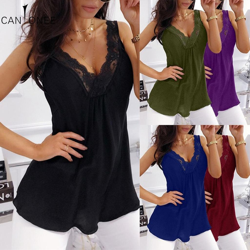 CANTONEE Frauen-Spitze-Weste Mode Leibchen ärmelloses Shirt Unterwäsche-Dame-Sommer-Tanktops beiläufige bequeme Bottom Wear T188