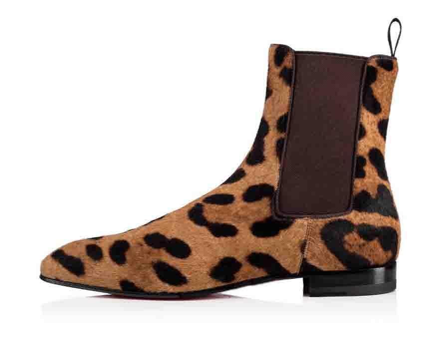 Gentleman mariage Bottes Chaussures Hommes Rouge Bas Designer Roadie Orlato Flat Moyen Chaussures Casual, Super parfait pour les hommes Bottines Leopard v8