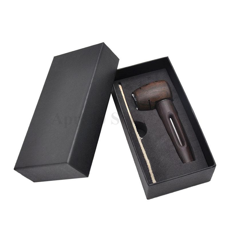High-end gift box packaging sandalwood pipe glass tobacco pot wood pipe classic shape ebony pipe MP201