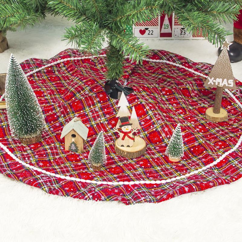 100cm Weihnachtsbaum-Rock-Schürzen Weihnachtsbaum Teppich Dekorationen für Haus Neujahr Weihnachten Decor
