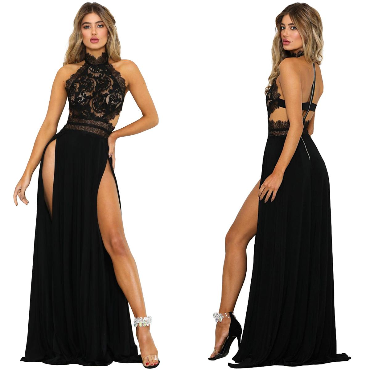HOT Lace Sexy Halter Stand Neck Floor-Length Dress S-XL Size Women Fashion Split Dress New Summer HIGH QUALITY