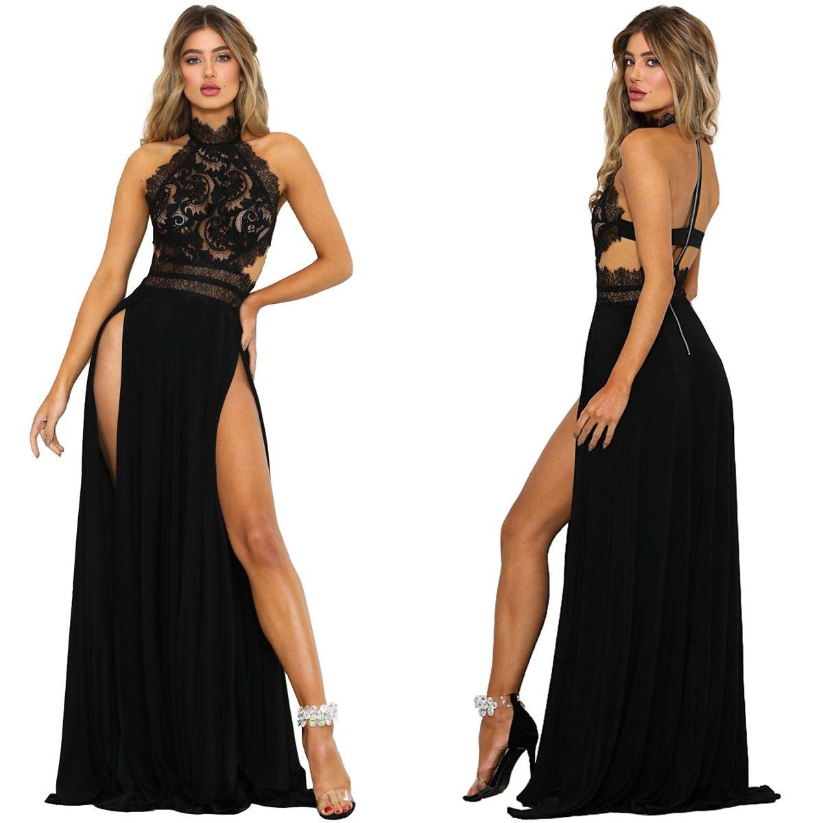 SICAK Dantel Seksi Halter Boyun Kat-Uzunluk Elbise S-XL Size Kadınlar Moda Bölünmüş Elbise Yeni Yaz YÜKSEK KALİTE Standı