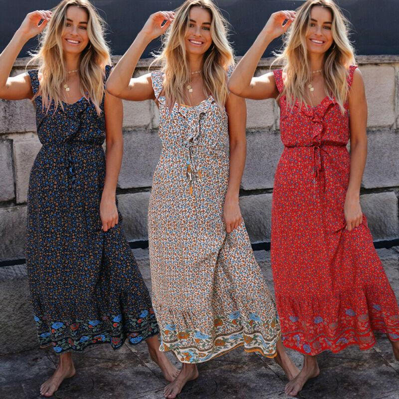 Women Boho Sleeveless Long Maxi Floral Dress Sewing Holiday Beach Sundress