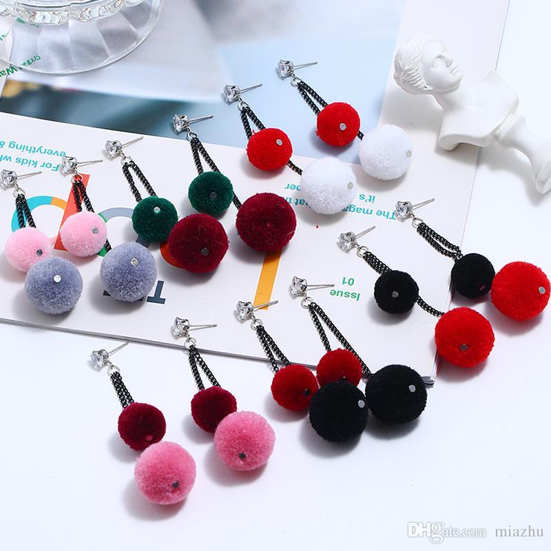 Pendientes de las mujeres nuevo diseño de lana bola pendiente de las borlas con flecos de colores pendientes de la manera 2019 de la joyería para las mujeres 6 colores
