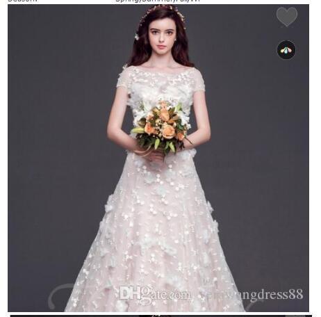 Keyhole Indietro Corte dei treni Flowers Appliques bordare abito da sposa principessa