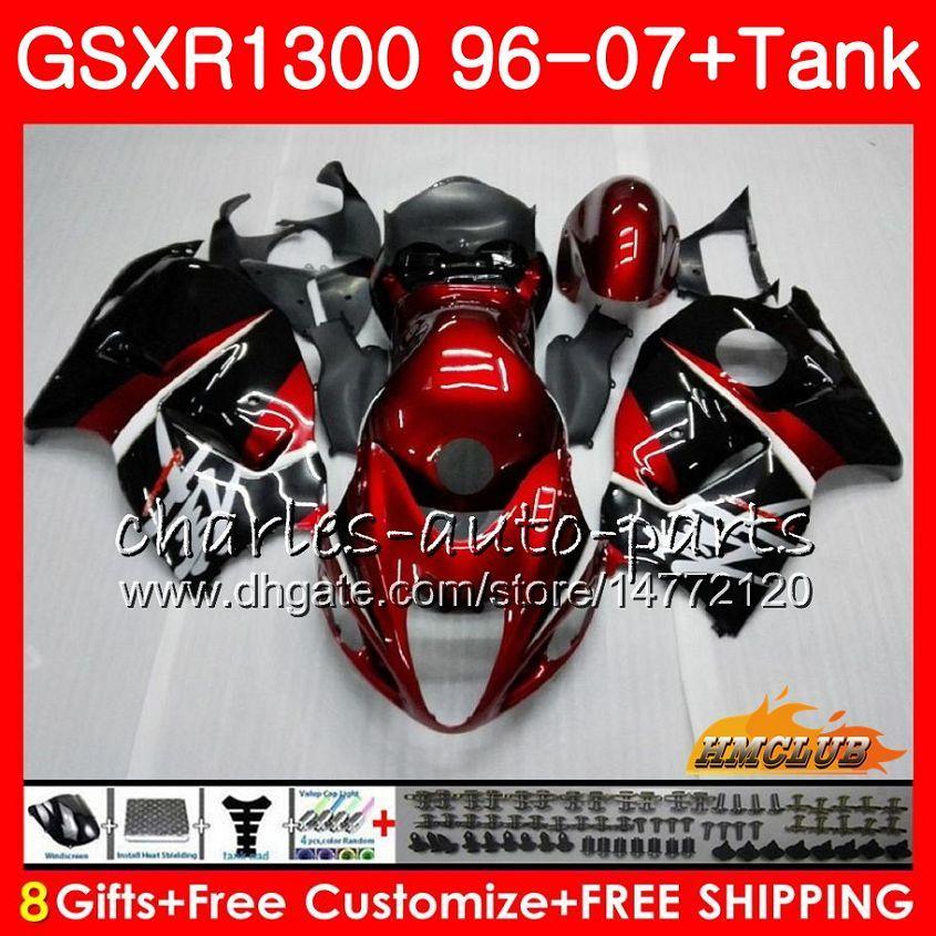Cuerpo para SUZUKI Hayabusa GSXR 1300 GSXR1300 96 02 03 04 05 06 07 rojo oscuro negro 24HC.7 GSX R1300 1996 2002 2003 2004 2005 2006 2007 Carenado