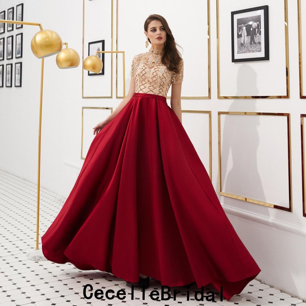 Großhandel Dark Red Lange Abendkleider 8 Mit Kurzen Ärmeln Stark Perlen  Top Satin Teens Sexy A Linie Abend Prom Party Kleid Hohe Qualität Von