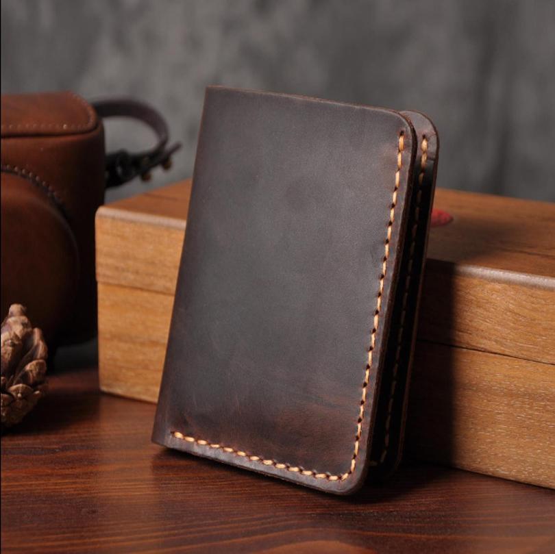 Handmade Vintage Crazy Horse Genuine Leather Wallet Men Wallet Leather Men Purse Clutch Bag Male Purse Money Clips Money Bag Y19052104
