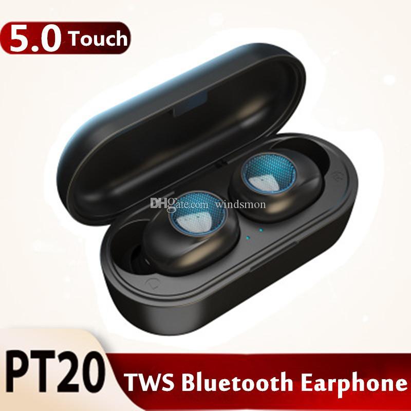 PT20 TWS écouteurs Bluetooth 5.0 écouteur du casque stéréo sans fil tactile HIFI écouteurs Mini casque sport avec charge de cas boîte