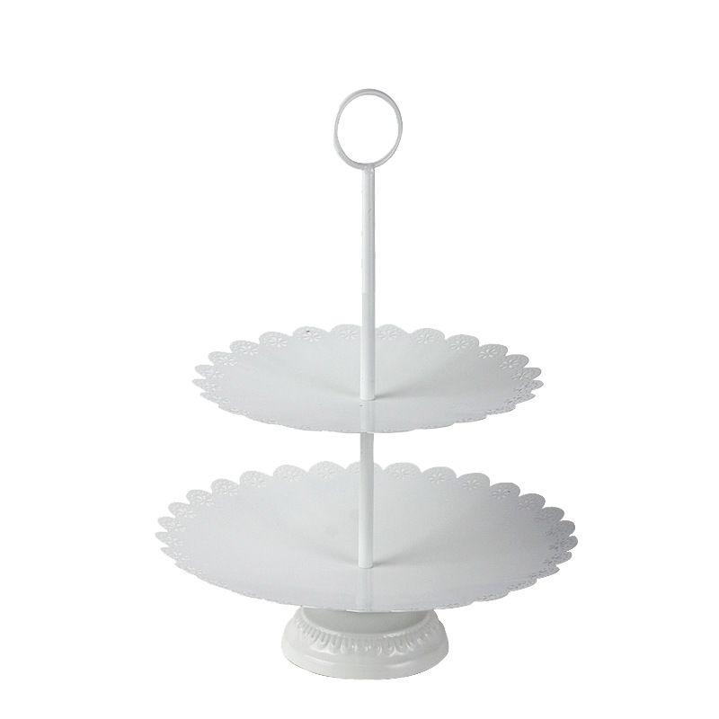 Vintage White 2-Tier Ferro Wedding Cake stand European Metal Torre del bigné a Dolci Frutta creativa Living Room Accessori