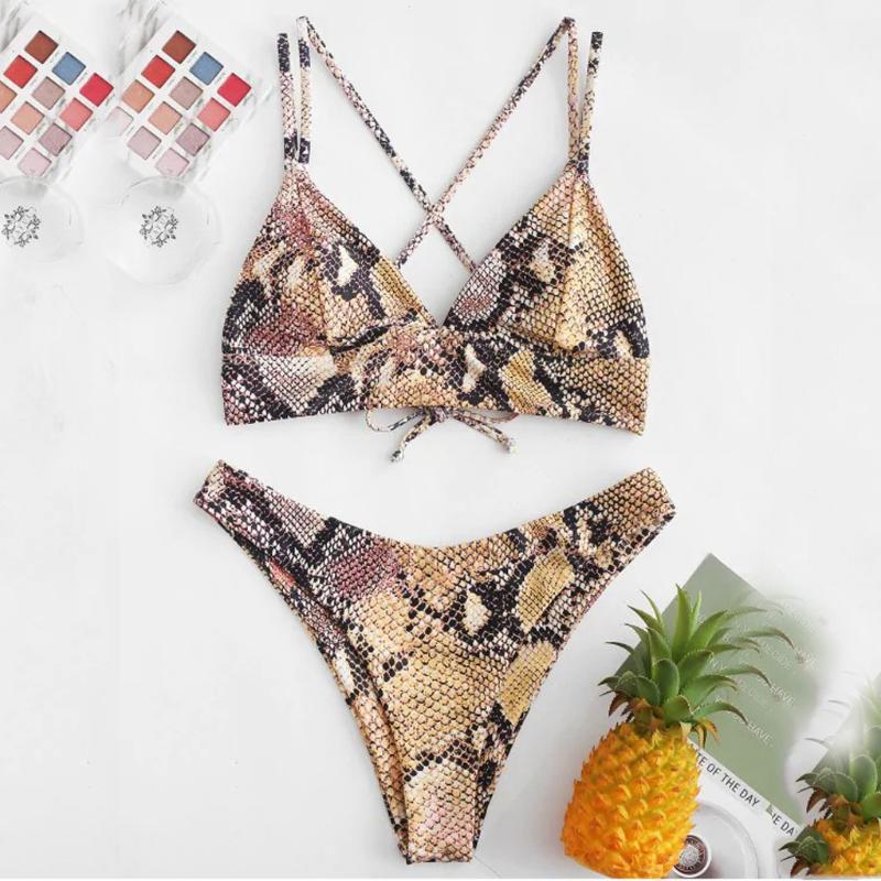 Les femmes peau de serpent coupe haute col en V Deux pièces bikini maillot de bain Beachwear Natation Maillots de bain maillot de bain Femme