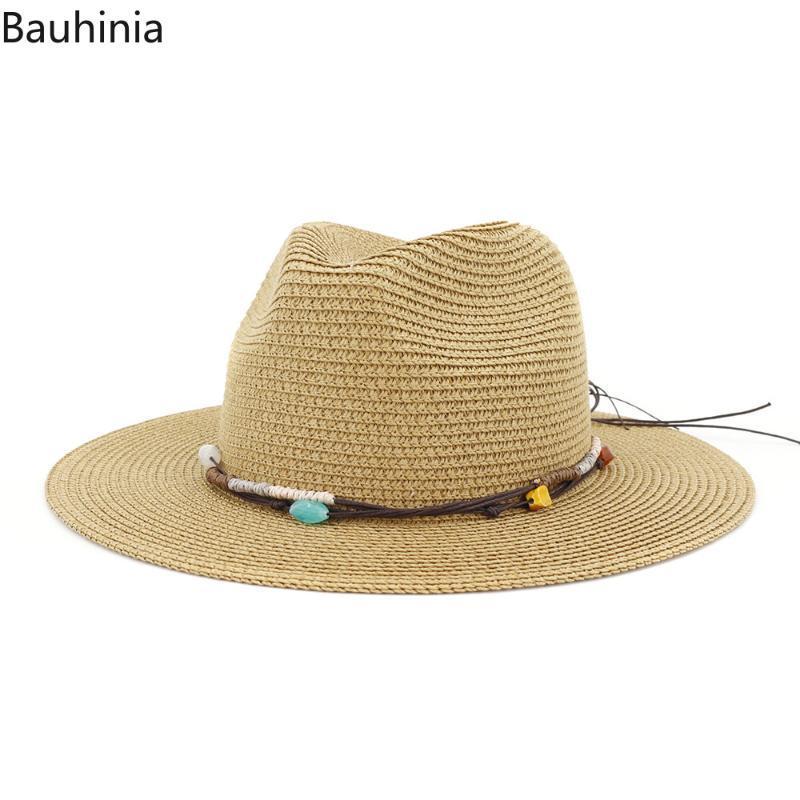 Bauhinia Hombres Fedora de la paja Sunhat playa de las mujeres de verano visera casquillo del jazz del sombrero flexible del casquillo del sombrero