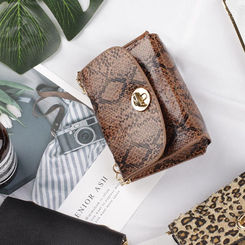 Women Rectangular PU Leather Shoulder Removable Belt Daily Large Capacity Purses Vintage Snake Skin Portable Gift Waist Bag