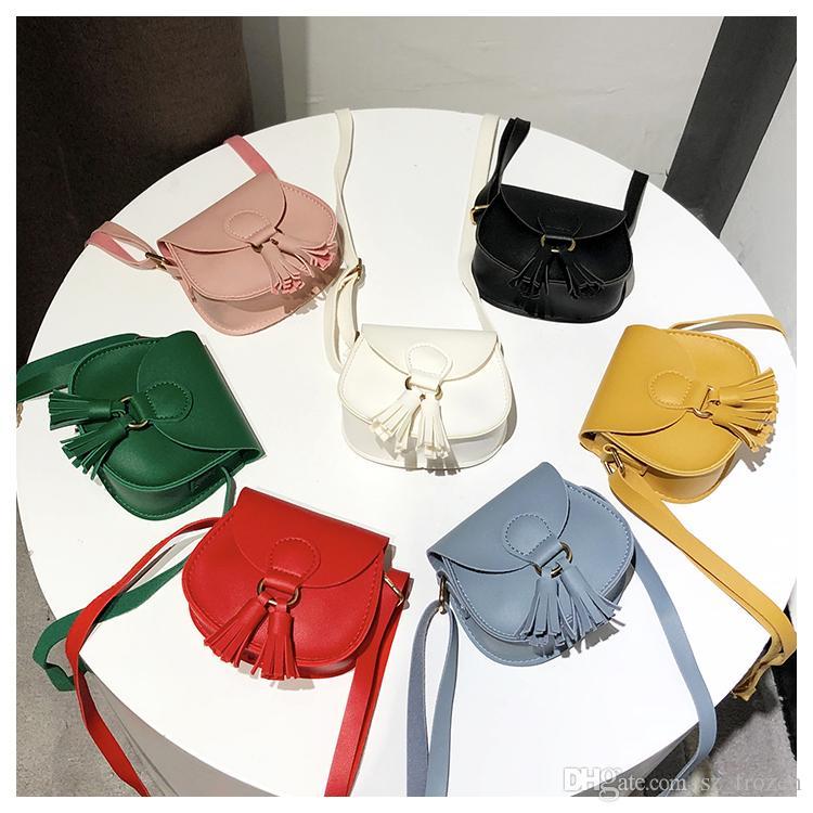7 컬러 소녀 인 Tassels PU 가방 2018 새로운 어린이 패션 싱글 어깨 Aslant 동전 지갑 가방 A-730