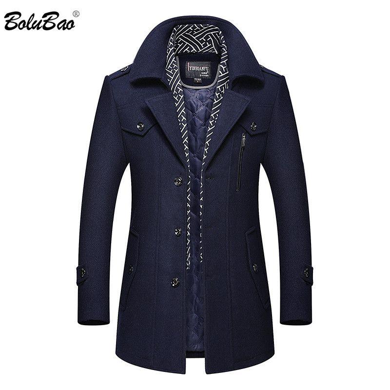 BOLUBAO Winter Brand Men Wool Blend Coats Men's Thick Warm Wool Blend Overcoat Luxurious Fashion Coat Male