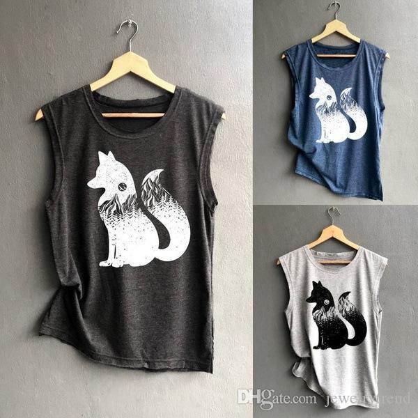 Causal T-shirt sans manches Cartoon Fox imprimé de femmes d'été Tops C4750