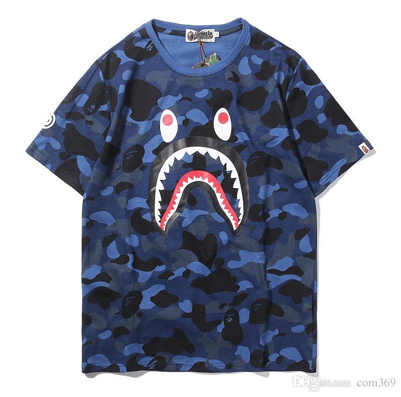 2019 ماركة أزياء المصمم عارضة الرجال المحملة خنفساء طباعة التمويه القرش المألوف أعلى جودة القمصان الرجال قصيرة الأكمام t-shirt