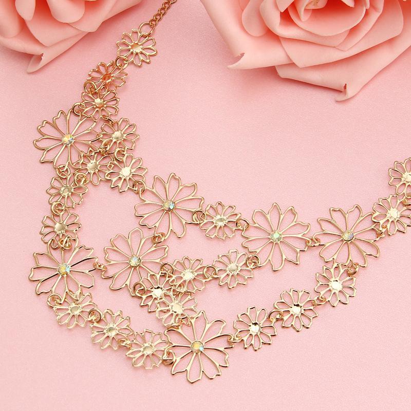 Esiodo Vintage Boemia a più strati scavato fiore della collana per le donne