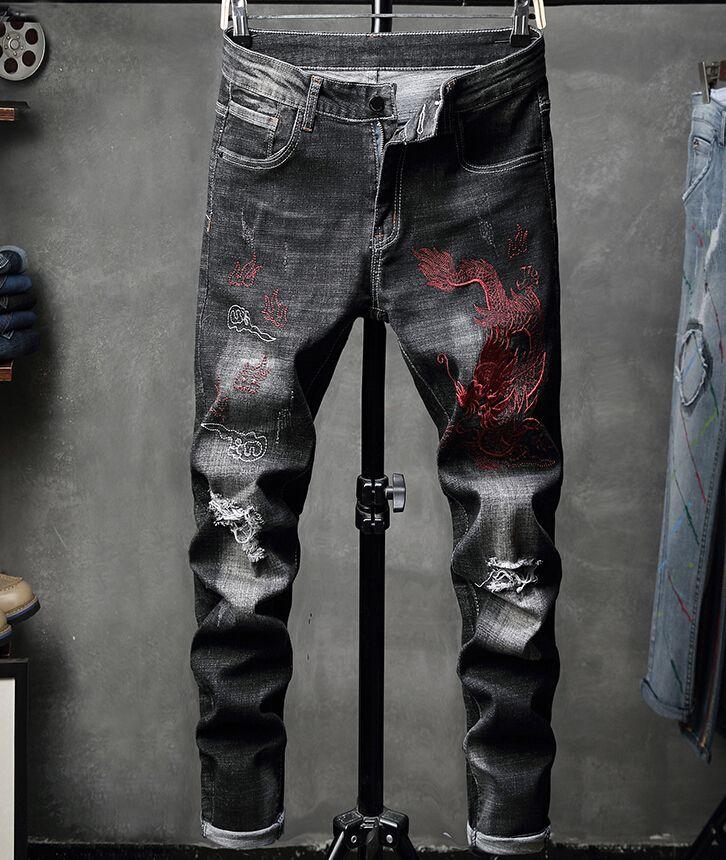 Men Jeans Outono Calças bordado Hole-Quebrando Jeans Individual Beggars Elastic Lazer jean (9)