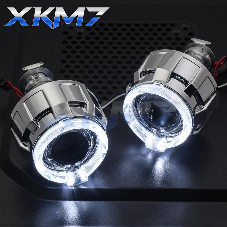 Objectifs phares Angel Eyes LED H4 H7 HID projecteur bi-xénon 2.0 Objectif DRL Halo Feux pour accessoires Tuning voiture style