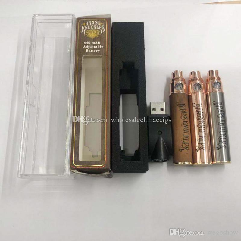 전자 담배 배터리 황동 너클 카트리지 (510) 스레드 Vape 펜 배터리에 대한 650mah 골드 900mah 목재 예열 배터리