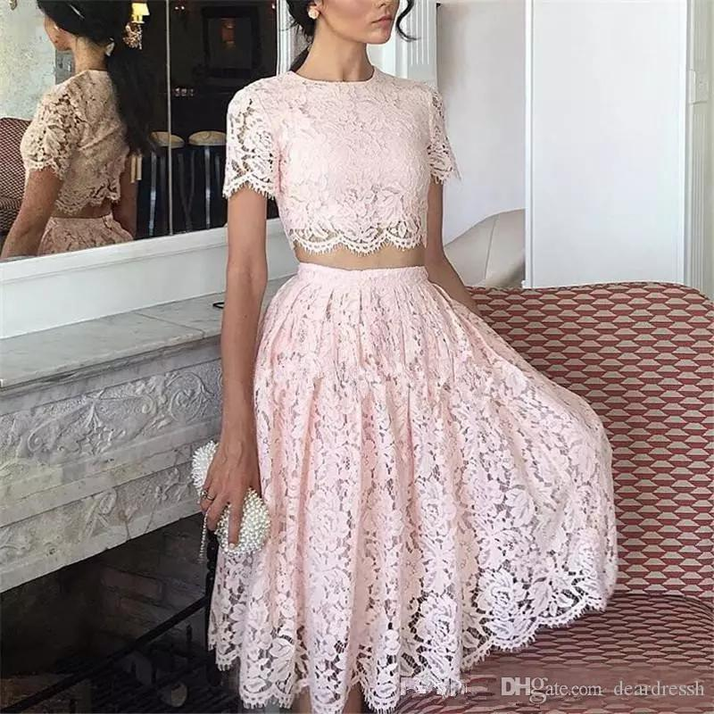 Jewel Short Sleeves Lace Two Piece