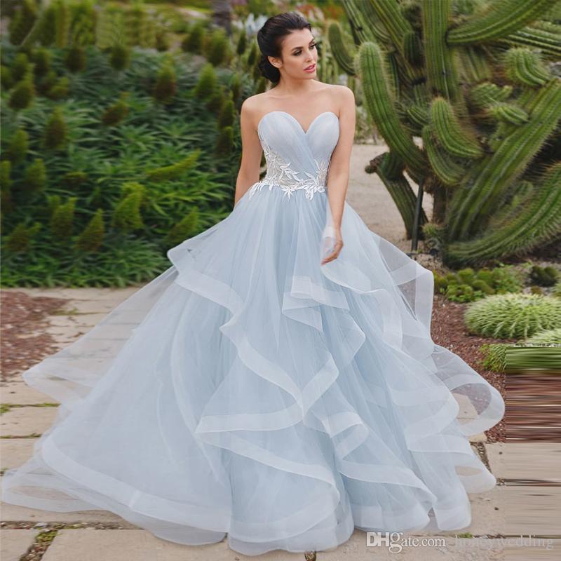 Acheter Robes De Mariée Bleu Clair 2019 Nouvelle