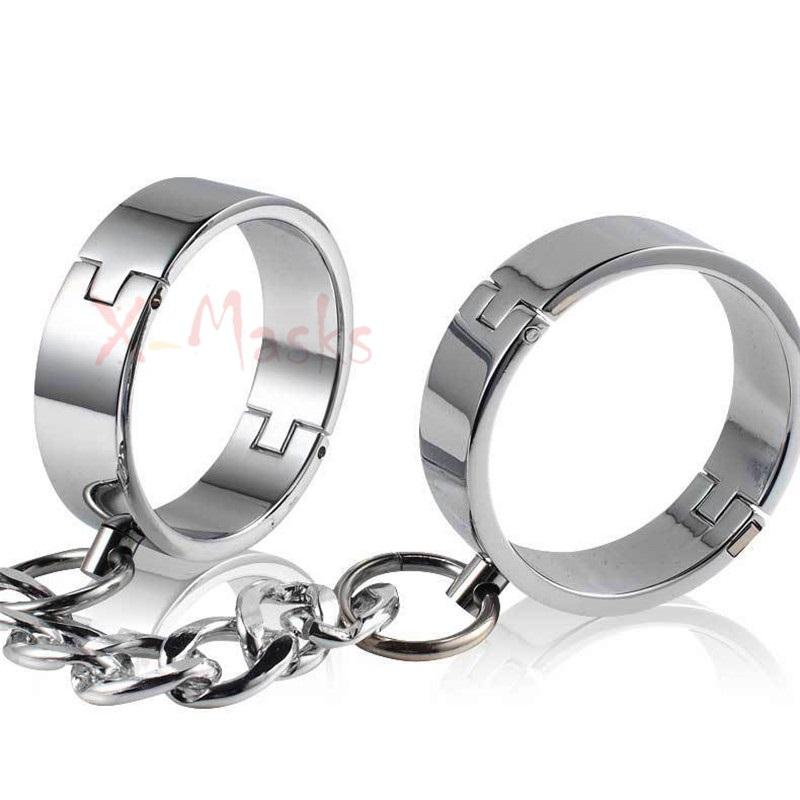 Metal Handcuffs for Sex Ankle Cuffs Hand Cuffs Steel bondage restraints Chain adult bdsm erotic irons prop costume female
