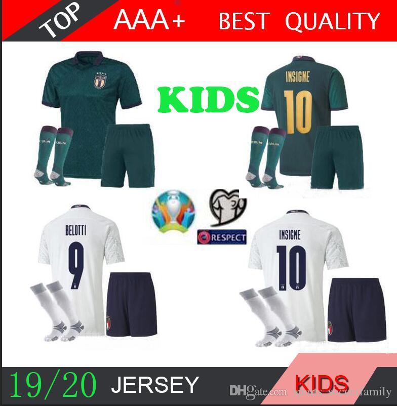19 20 ITALY 3rd KIDS kit socks soccer Jerseys 2019 2020 uropean Cup national team Italy BONUCCI IMMOBILE INSIGNE Third Football jersey shirt