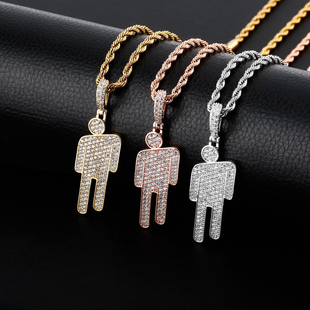 Hop Acessórios Prata Designer Luxury Jewelry Colar Mens Hiphop Iced Out Pendant Bling diamante Billie Eilish Inclinada Cabeça Pingentes Hip