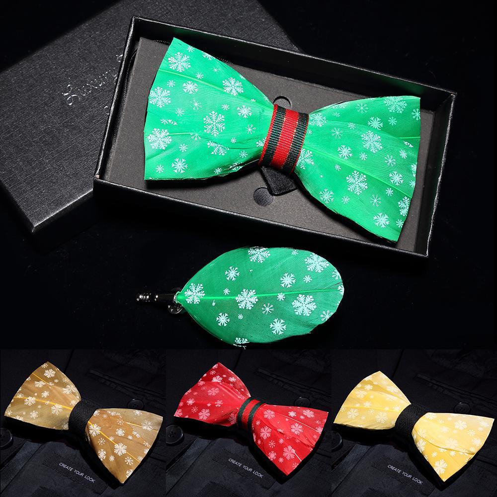 남성 눈송이 패턴 축제 테마 깃털 나비 넥타이 브로치 세트 넥타이 패션 캐주얼 Bowknot 남성 선물 크리스마스 활 넥타이