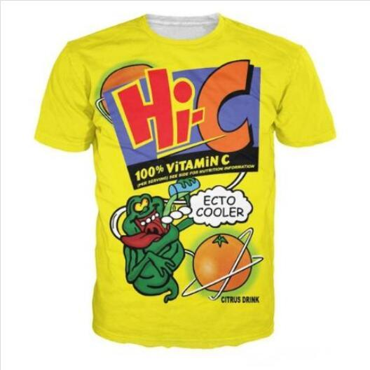 Neueste 3D-gedrucktes T-Shirt Ecto Cooler orange Hallo-C Citrus Drink Short Hülsen-Sommer-beiläufige Oberseiten-T-Shirts Art und Weise O-Ansatz T-Shirt Männlich DX013