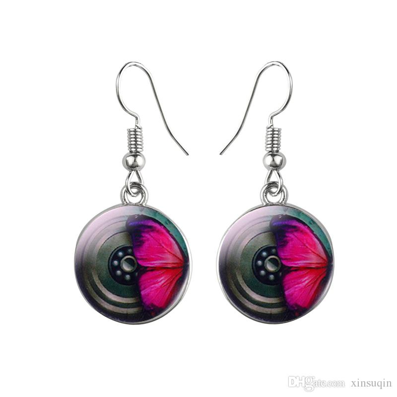 Beautiful Butterfly Stud Earrings 10mm Glass Cabochon Dome Design Women Steampunk Stud Earrings Female fashion Jewelry