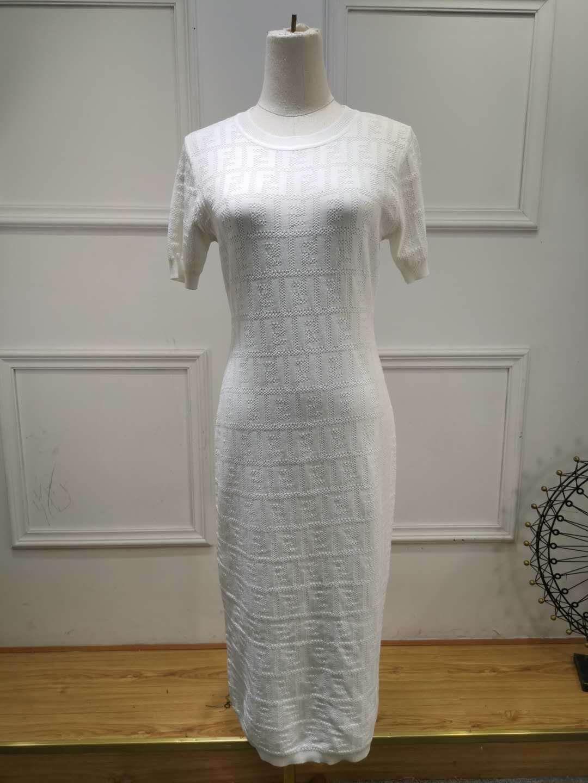 Yaz Tasarımcı Kadınlar Yaz Moda Lüks Bayanlar örme elbiseler Marka Üst elbise FF Harf Kızlar Kısa Kollu kazak 20052101T elbise