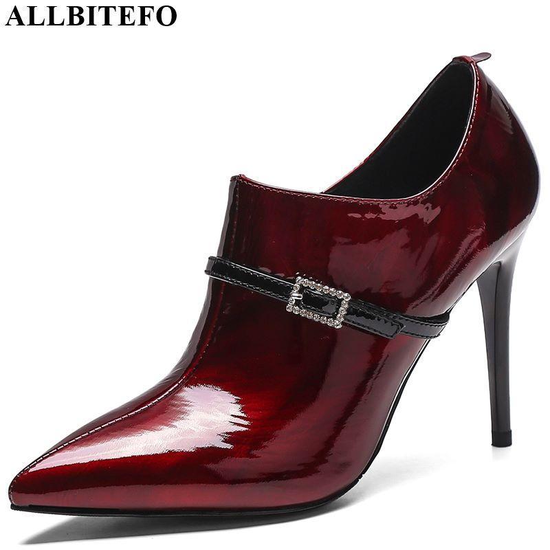 ALLBITEFO venda quente genuínas mulheres de couro saltos fivela de cinto confortáveis sapatos de salto alto sapatos de salto alto de strass Primavera Outono