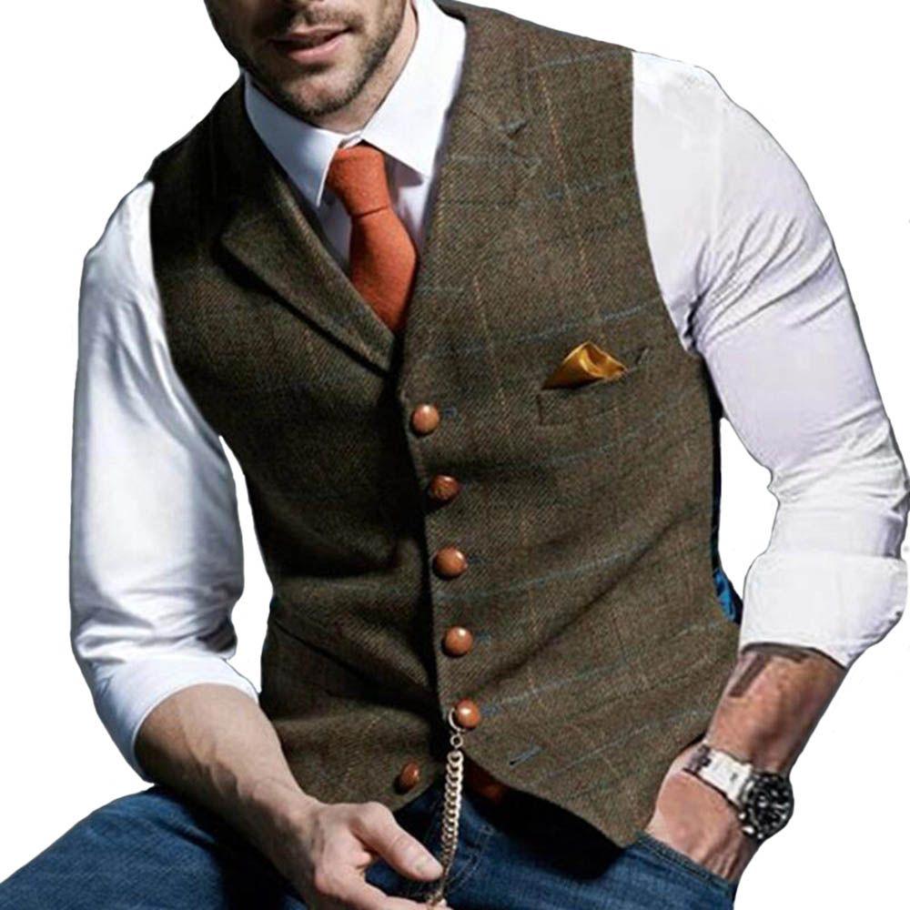 Boda 2020 lanas de los hombres de la tela escocesa del novio chalecos padrinos de Vestimenta Tweed negocios Traje chaqueta formal del novio del desgaste del juego del chaleco de los hombres de smoking del chaleco
