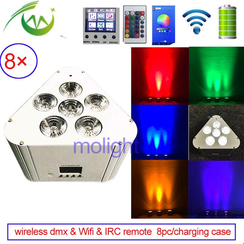 8pc/charging case Wifi IRC Remote Control Wireless dmx Uplighting 6*18w RGBWA UV 6in1 LED DJ Par Stage Cube Light for Weddings