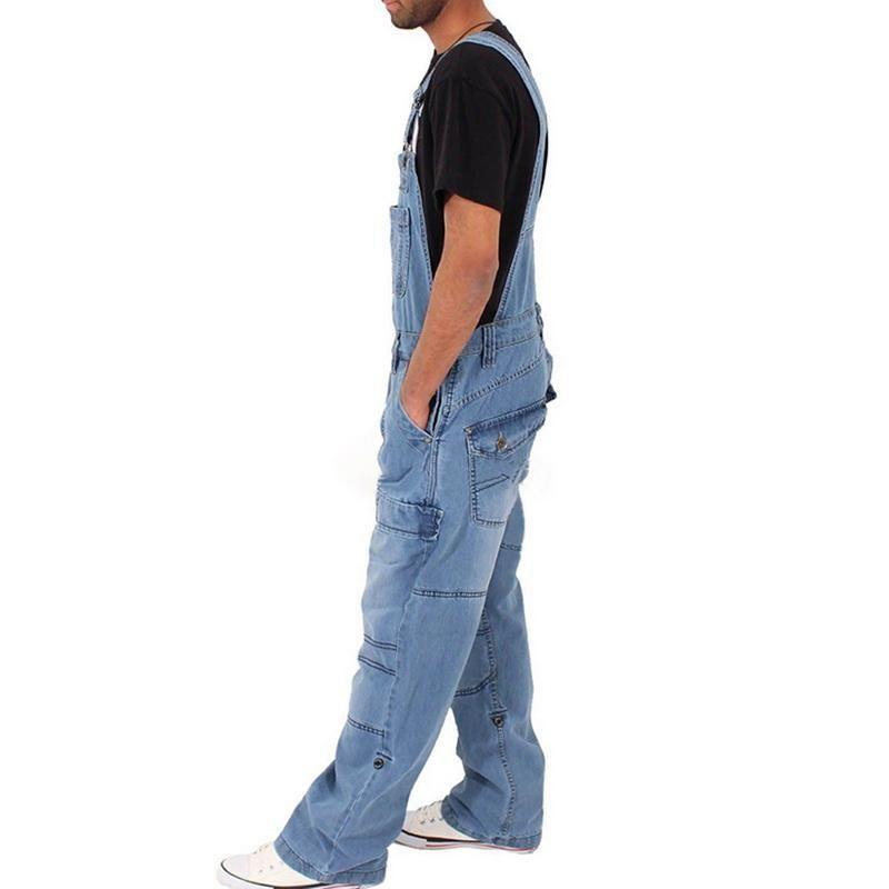 2019 Hombre de la manera floja ocasional del bolsillo Trajes comfortabele dril de algodón del mono de los pantalones vaqueros anchos Bib Jeans Hombre Azul Broek