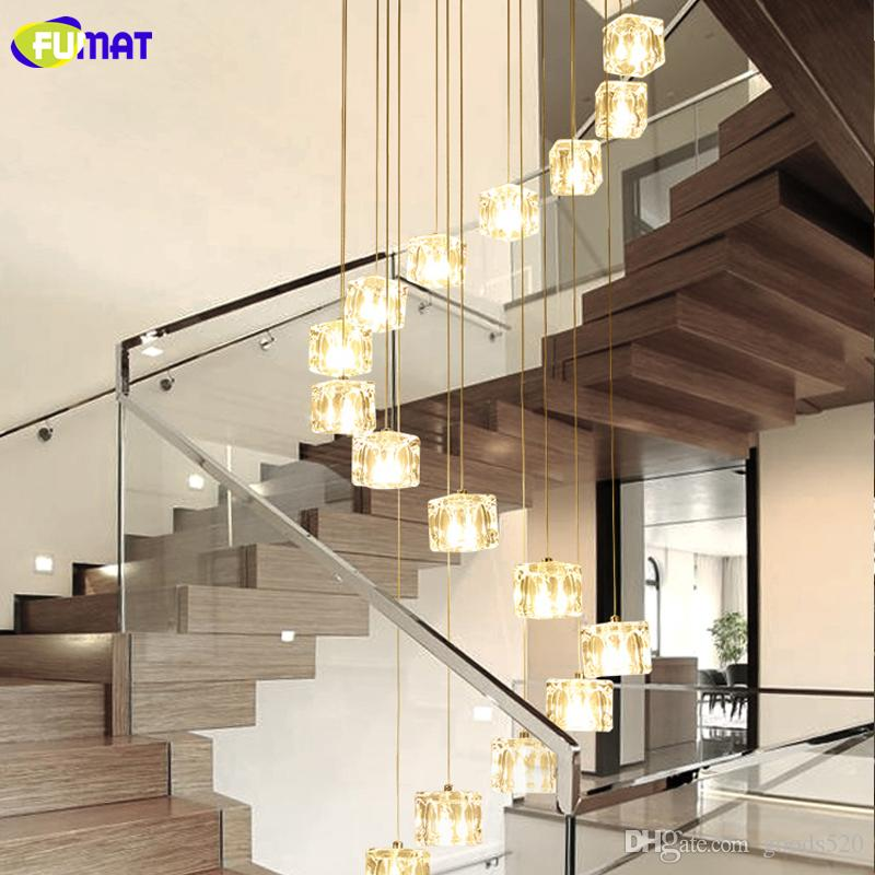 FUMAT Ice Cube Glass Spiral Staircase Villa Crystal Ceiling Lamp Modern Style Pyramid Layers Lights Penthouse Lustre Chandeliers