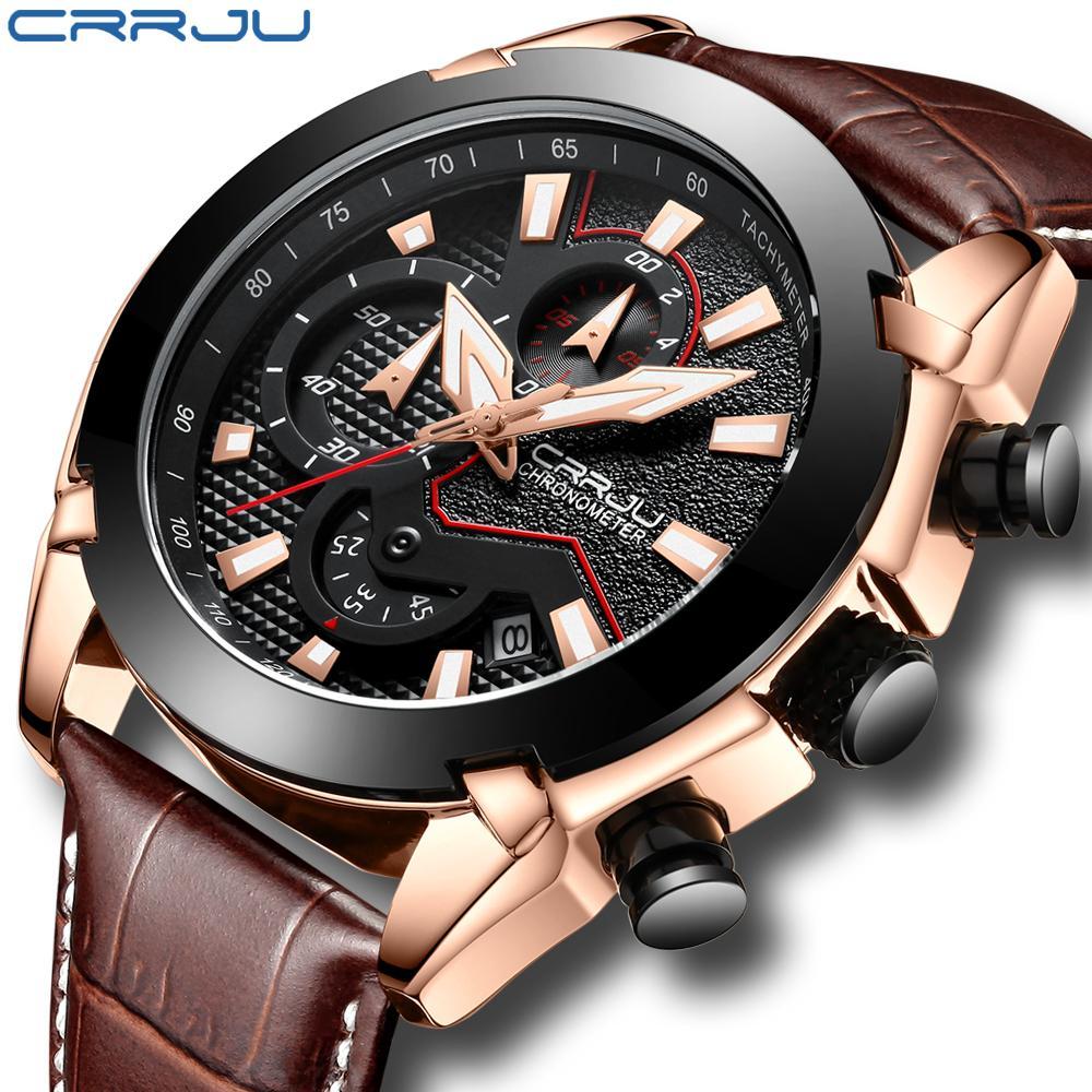 Crrju mens moda esporte relógios homens cronômetro quartzo data relógio de couro macho militar relógio à prova d 'água relogio masculino